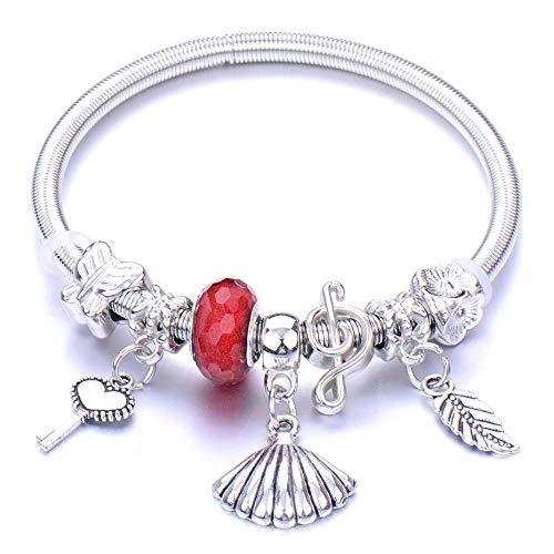 Pulseras Brazalete Joyería Mujer Pulsera En Forma De Corazón con Cuentas De Metal, Regalos para Damas, Pulseras para Damas, Pulsera Jewelry-7