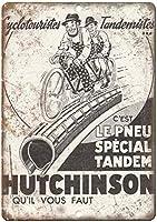 ハッチンソン自転車壁金属ポスターレトロプラーク警告ブリキサインヴィンテージ鉄絵画装飾オフィスの寝室のリビングルームクラブのための面白いハンギングクラフト