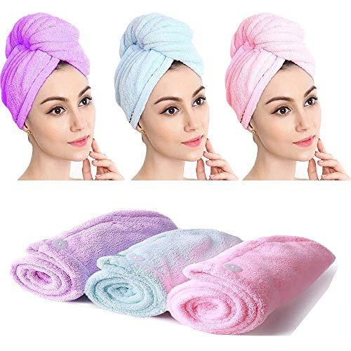 Turban Haartrockentuch, Haarturban 3 Stück Haartuch trocknen schnell,haarturban mikrofaser,saugstark,Stabiler Halt mit Knopf, Turban Handtuch für Alle