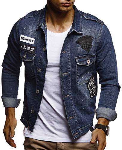 Leif Nelson Herren Jeans-Jacke mit Knopf Casual Freizeitjacke Slim Fit Männer-Übergangsjacke Stretch Langarm Das Beste in Kleidung Männer LN9550; Größe L, Blau