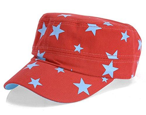 dy_mode Schirm Mütze Baseball Cap Mütze Kappe mit Stern Print - C025 (C025-Rot)
