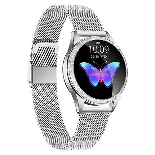 HQPCAHL Smartwatch, Reloj Inteligente Impermeable IP68 para Mujer, Pulsera De Actividad Inteligente con Monitor De Sueño Contador De Caloría Pulsómetros Podómetro para Android iOS,Plata