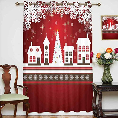 Christmas Decorations Sliding Door Curtain Winter Holidays Theme Gingerbread House Tree Lights and Snowflakes Art Grommets Panels Printed Curtains ,Single Panel 63x63 inch,for Office Red White