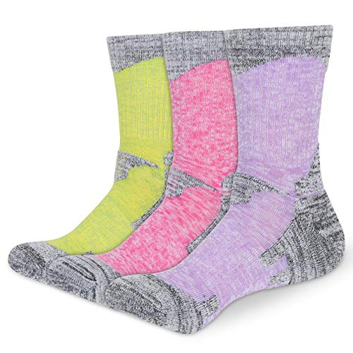 3 Pairs Women Cushioned Hiking Walking Anti Blister Sport Socks for Womens Ladies 4-7 Multipack Camping Cycling Running Padded Athletic Socks Colorful Grey Cotton Breathable Fitness Socks