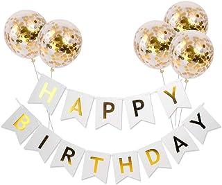 Meowoo Anniversaire Bannière, Banniere Joyeux Anniversaire et 5 pcs Ballons de Confettis, Banner Happy Birthday Ballon Hel...