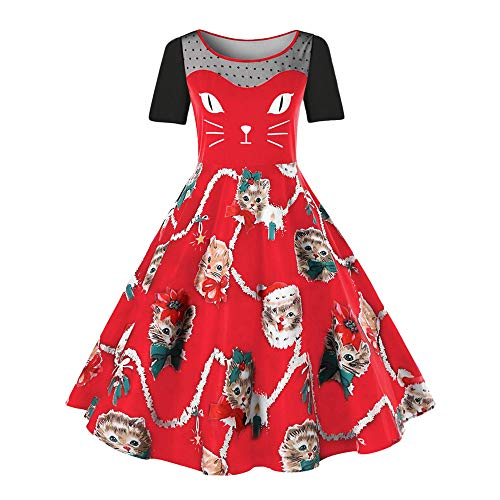 VEMOW Damen Elegantes Cocktailkleid Abendkleid Damen Mode Sleeveless Christmas Cats Musical Notes Print Beiläufig Täglich Vintage Flare Dress(X3-Rot, 46 DE / 3XL CN)