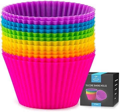 Zulay 12 Pack Silicone Cupcakes Liners Reusable Non Stick Silicone Cupcake Baking Cups Silicone product image