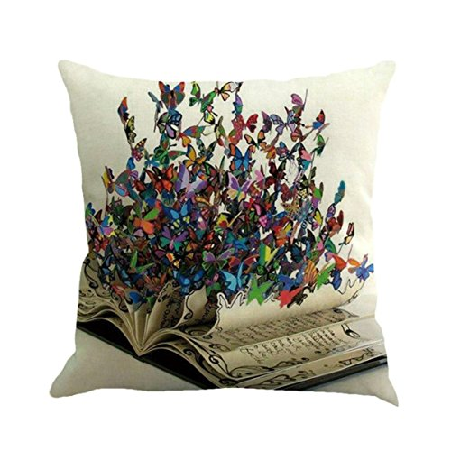 Kavitoz Pillow Cases, Butterfly Painting Linen Cushion Cover Throw Waist Pillow Case Square Sofa Home Decor (F)