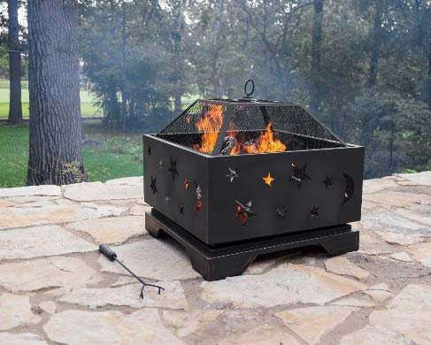 Jee Design- Portable Fire Pits Outdoor Wood Burning- Fire Pit Tables for Outside Patio-Rubbed Bronze Stargazer Square -The Centerpiece of Your Outdoor Entertainment Space