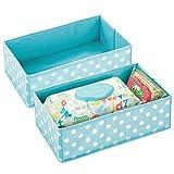 mDesign 2er-Set Aufbewahrungsbox für das Kinderzimmer oder Bad – Faltbare Kinderzimmer Aufbewahrungsbox für Babykleidung – Kinderschrank Organizer aus atmungsaktiver Kunstfaser – türkis/weiß