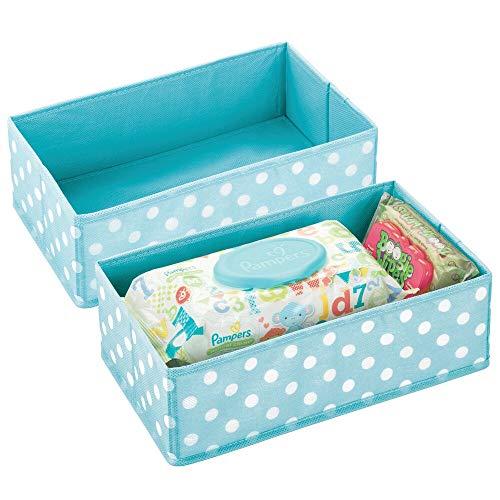 mDesign - Lade-organizer - voor kinder-/babykamers - voor ladekasten en kledingkasten - ruim/open/rechthoekig/zacht/stof - turkoois/wit - per 2 stuks verpakt