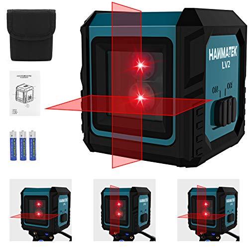 Nivel Láser 10M, HANMATEK LV2 Nivelador Láser Horizontal y Vertical Autonivelante, Líneas Cruzadas, IP54, Bolsa Portátil, para Diseño de Interiores, 1,2 m Anti-Caída, ±3.5° Nivelación Automática