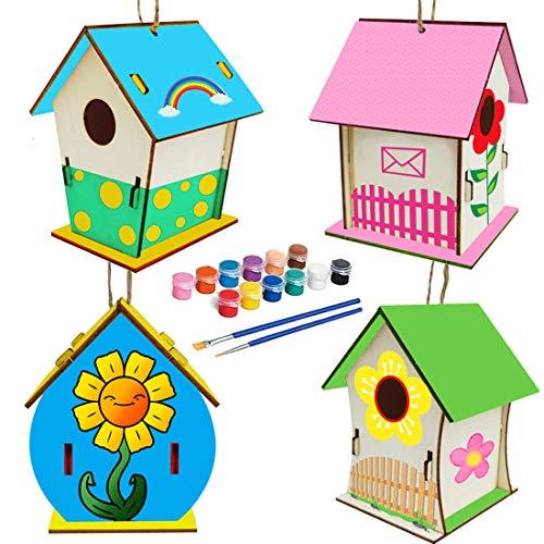 4 Pcs Bricolaje de Madera para Pájaros, Manualidades para Niños, Casa de Pájaros Madera, Pajarera de Madera para Niños y Niñas Construcción y Pintura Regalo Juego Mental(11*9*8CM)