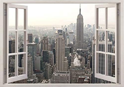 Una Ventana a New York Paisaje Pegatina de Pared Autocolande Adhesivo Removible...