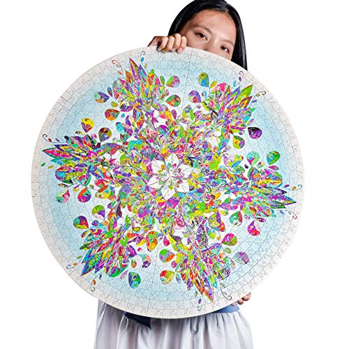 Round Jigsaw Puzzle 1000 PCS, Snowflake Puzzles for Adults 1000 Pieces, Large Size Flower Kaleidoscope, Fun and Challenge, Gift for Boys Girls Men Women Adults