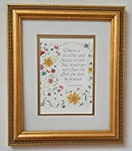Charm is deceitful and beauty is vain - Proverbs 31:30 - Hand-lettered Christian Calligraphy, Bible Scripture - Christian Wall Art - portrait print matted with 8
