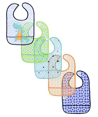 Luvable Friends (ラバブルフレンズ) Waterproof Bib with Crumb Catcher Pocket Luvable Friends ラバブルフレンズ ポケット付き 防水エプロン 5枚セット 食事用 ビブセット Dinasaur ダイナソー