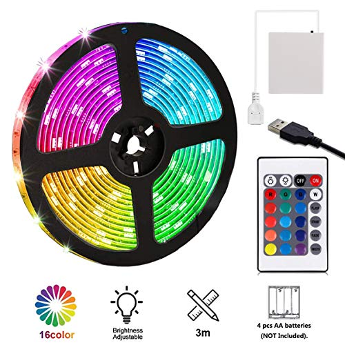 USB Powered LED Strip Light RGB Battery Box Controller Multi Color 3m