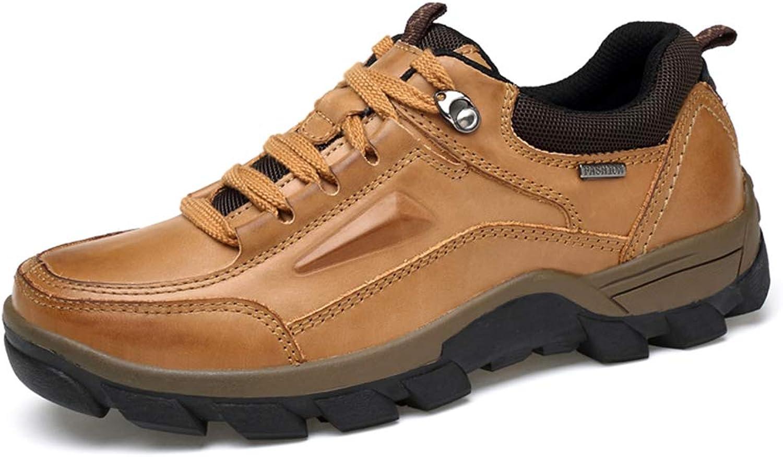 Men's Winter Leather Boots Tooling New Men's shoes Plus Velvet Warm Cotton shoes Outdoor Hiking Casual Martin Boots Men's Casual shoes Outdoor shoes (color   Yellow, Size   7 US)