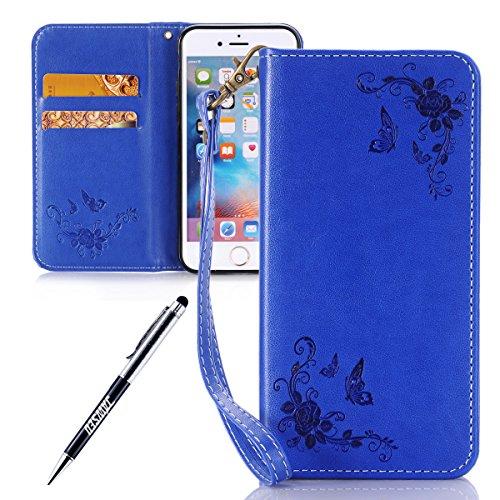 JAWSEU Coque iPhone 6S,Etui iPhone 6 Portefeuille PU Étui Folio Cuir à Rabat Magnétique Roses Une Fleur Ultra Mince Stand Leather PU Case Flip Wallet Case pour iPhone 6/6S,Bleu