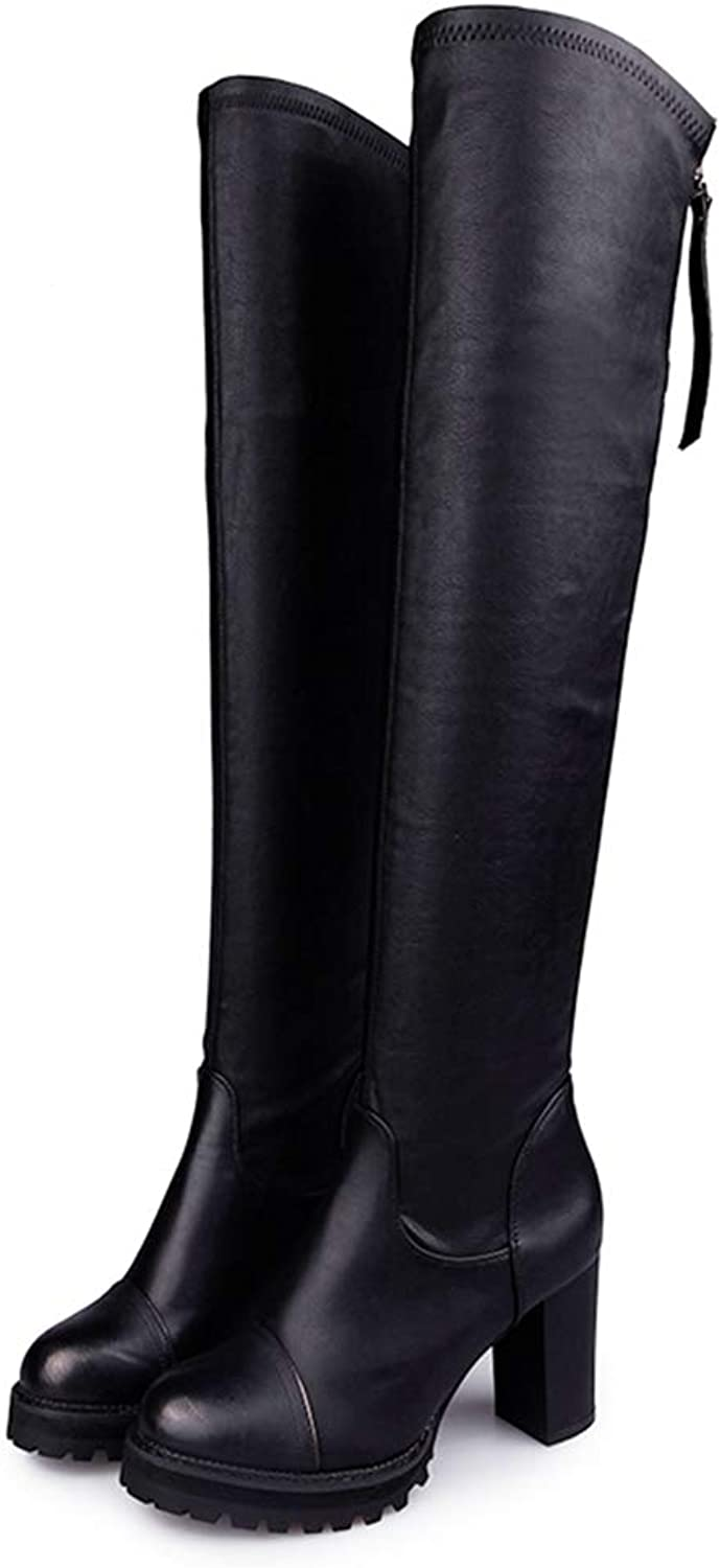 Winter Women Over The Knee Boots Made of Faux Leather Square High Heels Skid Proof Short Plush Rubber shoes