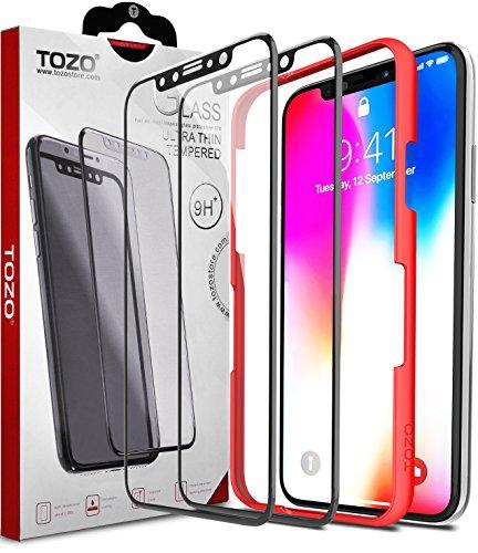 TOZO Kompatibel für iPhone X Panzerglas Schutzfolie Full Screen Curved folie für iPhone 10/X [9H Härtegrad 3D Touch Kompatibel 2.5D PET](Schwarz)