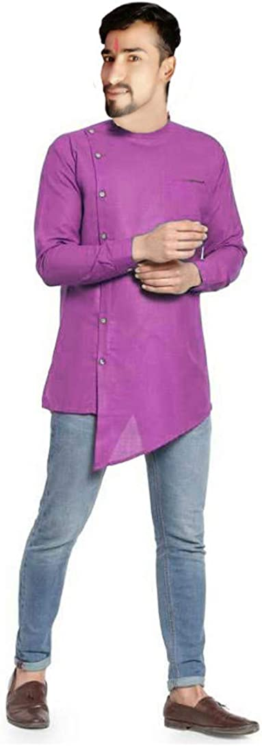 Lakkar Haveli Pink Color Men's Cotton Shirt Casual Tunic Wedding Wear Kurta Ethnic Nice Tunic Plus Size