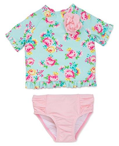 Little Me Baby Girls' 2 Piece Short Sleeve Rashguard Set, Floral Rose, 24 Months