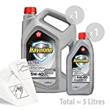 TEXACO Havoline Ultra 5W-40 Fully Synthetic Engine Oil - Service Pack: 5 litres
