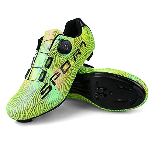 Donne Scarpe Ciclismo Uommo Scarpe MTB ScarpeMountainBike Taglia 40 Colore Verde Traspirante Scarpe Bici con Scatola da Scarpe Fibbia Girevole per Scarpe