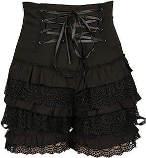 CosplayDiy Women's Cute Gothic Steampunk Lolita Maid Ruffle Lace Pumpkin Cosplay Bloomers Shorts