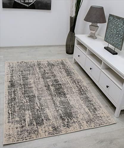 VIMODA Tapis beige gris crème abstrait vintage pour salon à poils courts - Dimensions : 80 x 150 cm