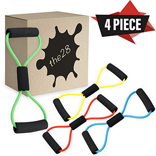 the28 Home Gym Toner Yoga Bands Expander Pulling Stretch Rope 8 Shaped Resistant Exercise Bands Pull Rope Elastic Exercise Body Building Fitness Bands for Stretching Tube Latex Tension Rope 4 Piece