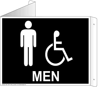 Men Restroom Wall Sign, Triangle Projection-Mount, 9x7 inch Black Aluminum for Public Bathrooms by ComplianceSigns