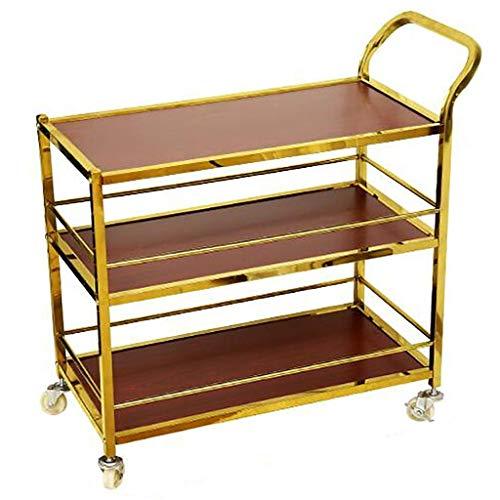 Carrito de servicio de madera maciza de metal Carrito de té de vino con ruedas Barandilla de almacenamiento Soporte para bar Hotel Comedor Cocina Baño 2 estilos