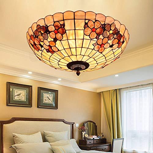 ZTJ-Lighting Tiffany-Stil Mosaik Deckenlampe, Klassische Handgemacht Schale LED Deckenleuchte, Vintage Deckenbeleuchtung für Schlafzimmer Wohnzimmer Cafe, 110-220V [Energieklasse A++],20 inch,LED