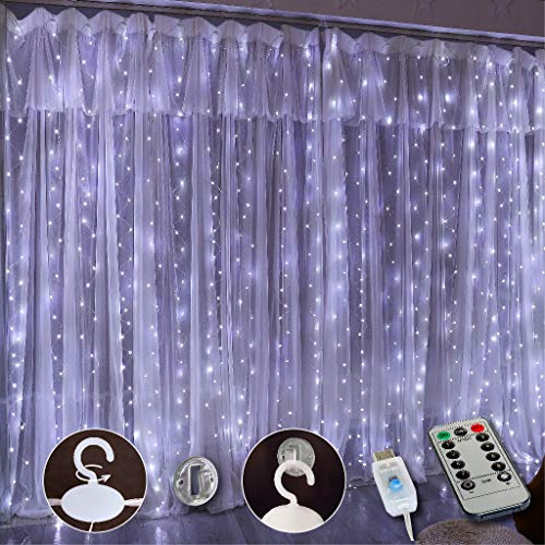 Upgrade 300 LED Curtain Light, SINAMER 9.8ft x 9.8ft Copper Wire String Lights, USB Powered Hanging Window Fairy Lights, 8 Lighting Modes, Remote Control for Home Christmas Wedding Party, White