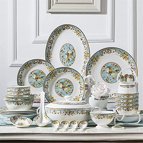 Juego de Platos, Juego de vajillas de cerámica de 58 Piezas, Bolos/almacén/Placas/cucharas  Conjunto de cenas en China de Hueso, Conjunto de combinación de Porcelana de patrón de Caballo de Oro