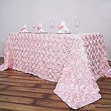 Efavormart 90'x156' Wholesale Rectangle Table Cover Blush Grandiose Rosette 3D Satin Tablecloth for Wedding Party Event Decoration