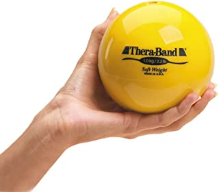 """TheraBand Soft Weight, 4.5"""" Diameter Hand Held Ball Shaped Isotonic Weighted Ball for Isometric Workouts, Strength Training and Rehab Exercises, Shoulder Strengthening and Surgery Rehabilitation, Yellow, 2.2 pound"""