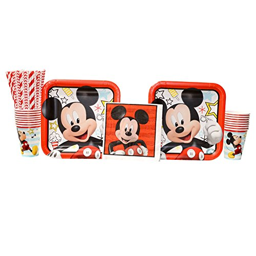 Cedar Crate Market Disney Mickey Mouse On The Go Party Supplies Pack for 16 Guests: Straws, Dinner Plates, Luncheon Napkins, and Cups