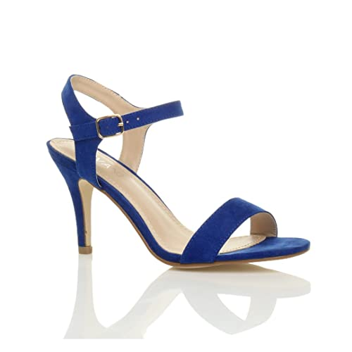 781d4e81baa Ajvani Womens Ladies mid high Heel Strappy Barely There Party Wedding Prom Sandals  Shoes Size