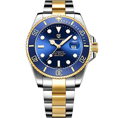 Pagani Design Japanese Movement Mechanical Men's Watch Fashion Business Casual Men's Watch (Gold Blue)