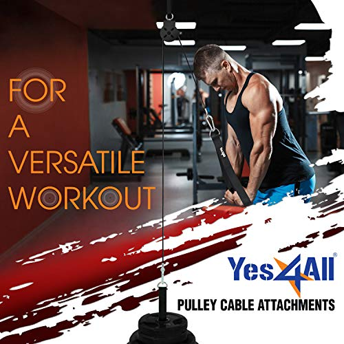Product Image 3: Yes4All Cable Pulley Attachment Single Set – 2-inch Olympic Bars Compatible LAT Pulldown Pulley & Home Gym Pulley, A. Black – Single