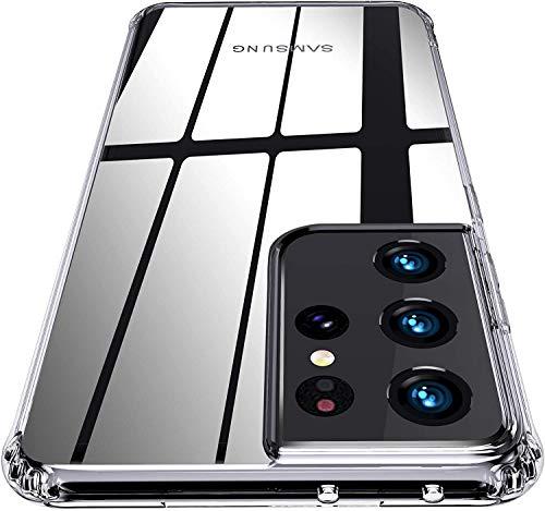 QITAYO Hybrid Clear Kompatibel mit Samsung Galaxy S21 Ultra 5G HulleTransparent Silikon Handyhulle Schutzhulle Case Crystal Clear fur Samsung Galaxy S21 Ultra 5G