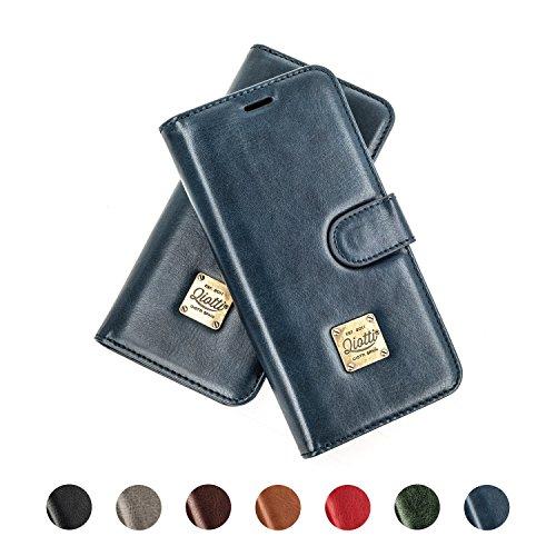 QIOTTI Nokia 5 Funda, España Cartera con [ RFID NFC Protección Block ] [ Standfunction Películas ] [ 3 Ranuras para Tarjetas ] [ Cierre Magnético ] [ Eco-Faux Cuero ] (Azul)