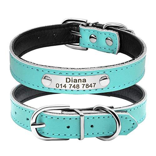 ZIMO lederen hondenhalsband binnen gewatteerde aangepaste gepersonaliseerde hondenhalsbanden met gegraveerde naamplaat-ID-tag voor kleine middelgrote honden, Blauw, XS