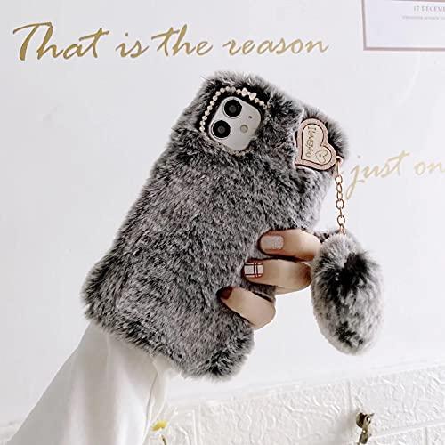 Miagon Lapin Peluche Fourrure Coque pour Samsung Galaxy S21 FE,Kawaii Étui de Protection Hiver Chaud Souple Poilu Doux Housse Cover avec Cœur Pendentif,Gris