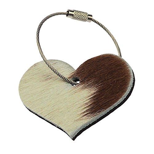 ebos Fell Schlüsselanhänger✓ echtes Kuhfell ✓ 100% Wollfilz✓ Herz-Motiv | 4,5x6 cm | Hochwertiger, schöner Anhänger (Braun / Mahagonibraun)
