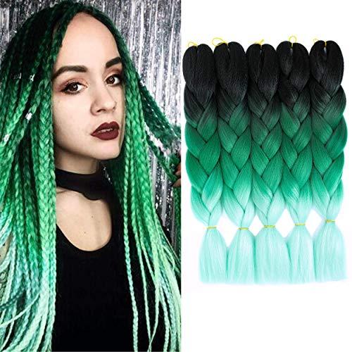 5 Packs 24 inch Braiding Hair Ombre Kanekalon Braiding Hair 3 Tone Green Ombre Jumbo Braids Hair Synthetic Twist Braiding Hair Extension for Braiding(5PCS, Black-Dark Green-Light Green)